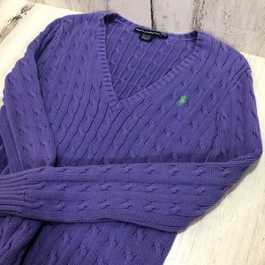 Ralph Lauren Sport Purple Cable Knit Sweater
